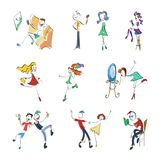 Stickman συλλογή Doodle Σύνολο έννοιας απεικόνισης διανυσματική απεικόνιση