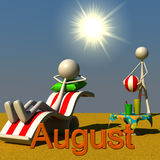 Stickman August. 3d figures relaxing in the sun; the picture deals with the theme of august Royalty Free Stock Images