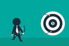 Stickman blick som en hållande pil för affärsman och se in mot mål Arkivfoton