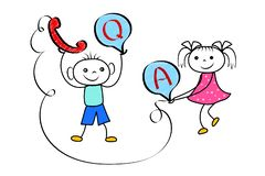 Stickman boy and girl team in customer help support center. Cartoon technical FAQ and Q&A service. royalty free illustration