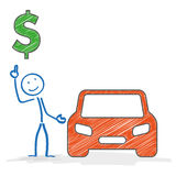 Stickman Car Dollar. Stickman with car on the white background Stock Image