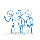 Stickman Cheerfulness. 3 stickmen with different moods on the white background Stock Photo