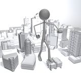 Stickman - City. An enormous is attacking the city Stock Photos
