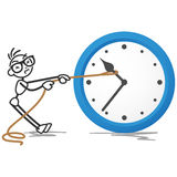 Stickman clock stop time rope Stock Photos