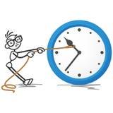 Stickman clock stop time rope Stock Photos
