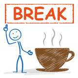 Stickman Coffeecup Break Royalty Free Stock Photography