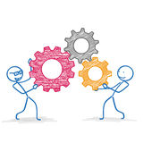 Stickman 3 Colored Gears Royalty Free Stock Photo