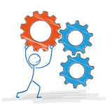Stickman 2 Colored Gears Royalty Free Stock Photography