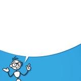 Stickman conversation talking speech bubble. Vector stick figure illustration: Talking stickman with blank speech bubble on blue background Royalty Free Stock Photography