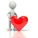 Stickman die rood hart geeft Stock Afbeelding