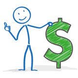 Stickman Dollar Okay Royalty Free Stock Image
