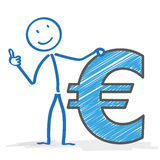 Stickman Euro Okay. Stickman with Euro on the white background Stock Photo