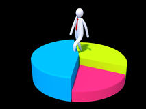 Stickman executive walking to the top of chart Stock Photography