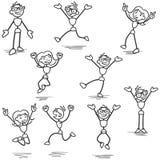 Stickman felice che salta celebrando incoraggiare illustrazione di stock