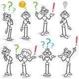 Stickman frågefläck som frågar att grubbla vektor illustrationer
