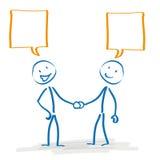 Stickman Handshake Speech Bubbles Stock Photography