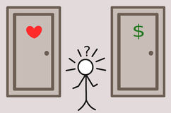 Stickman and the hard choice love or money concept illustration Stock Image