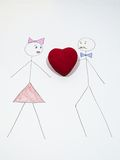 Stickman with heart Royalty Free Stock Images