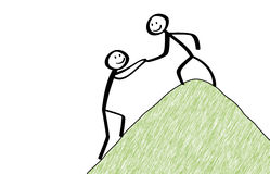 Stickman helps another to climb the hill. Partnership support royalty free illustration
