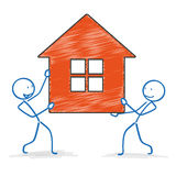 Stickman House Royalty Free Stock Images