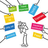 Stickman indebted stick figure creditors signs. Conceptual vector stick figure illustration: Frustrated stickman hassled by creditors holding signs labeled rent Stock Image