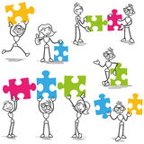 Stickman jigsaw puzzle strategy teamwork. Set of vector stick figures: Stickman with jigsaw puzzle pieces, teamwork, strategy Stock Photography