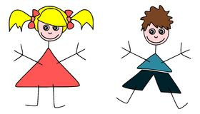 Stickman kids. Children style drawing of two siblings Royalty Free Stock Photo