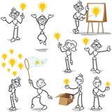 Stickman light bulb idea, creative vector illustration