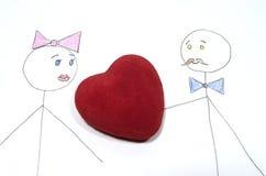 Stickman met hart Royalty-vrije Stock Afbeelding