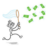 Stickman money bill net chasing Stock Photos
