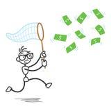 Stickman money bill net chasing. Vector stick figure illustration: Stickman chasing money bills with a scoop Stock Photos