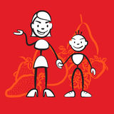 Stickman mother and child symbol Health conscious diet Stock Image