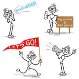 Stickman motivation inspiration. Set of vector stick figures: Motivating stick man shouting and cheering Royalty Free Stock Image