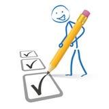 Stickman Pencil Checklist Royalty Free Stock Photo