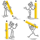 Stickman pencil drawing. Vector stick figure set: Stickman holding pencil, standing, running, pointing and drawing Royalty Free Stock Photo