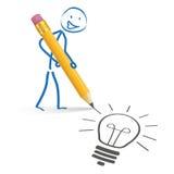 Stickman Pencil Idea Royalty Free Stock Image
