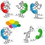 Stickman phone call talking calling vector illustration