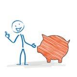 Stickman Piggy Bank Ok Royalty Free Stock Photo