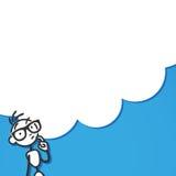 Stickman pondering thinking cloud Stock Photo