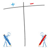 Stickman Pro Contra. Stickmen with pencils and pro and contra list on the white background Stock Image