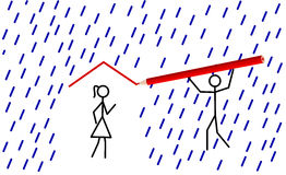 Stickman provides shelter for his love (vector). Stickman provides shelter from rain for his/her love by drawing a red roof (vector royalty free illustration