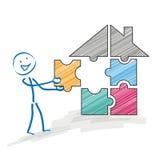 Stickman Puzzle House Stock Photos