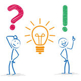Stickman Question Bulb Answer Stock Images