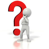 Stickman question mark thinking. Stickman standing in front of a question mark thinking. Isolated on white with a clipping path Royalty Free Stock Photography