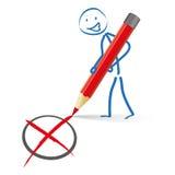 Stickman röda Pen Vote Royaltyfria Bilder