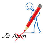 Stickman röda Pen Yes No Arkivbild