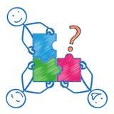 4 Stickman Rectangle Puzzle Question Stock Photo