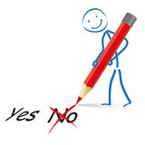 Stickman Red Pen Yes No Royalty Free Stock Photos