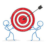 Stickman Red Target Arrow Stock Photography