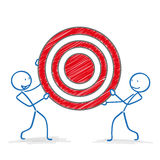 Stickman Red Target Royalty Free Stock Photography